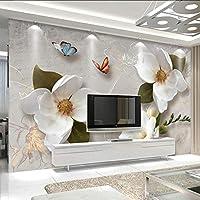 Lixiaoer カスタム壁画壁紙3Dステレオ花蝶フレスコ画現代のシンプルなリビングルームテレビソファの背景壁紙用3 D-400X280Cm