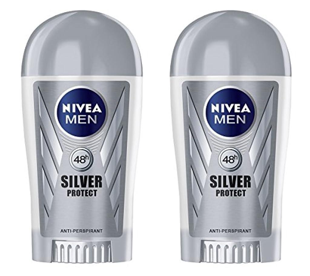 泥だらけ暖炉フライト(Pack of 2) Nivea Silver Protect Anti-perspirant Deodorant Stick for Men 2x40ml - (2パック) ニベア銀保護する制汗剤デオドラントスティック...