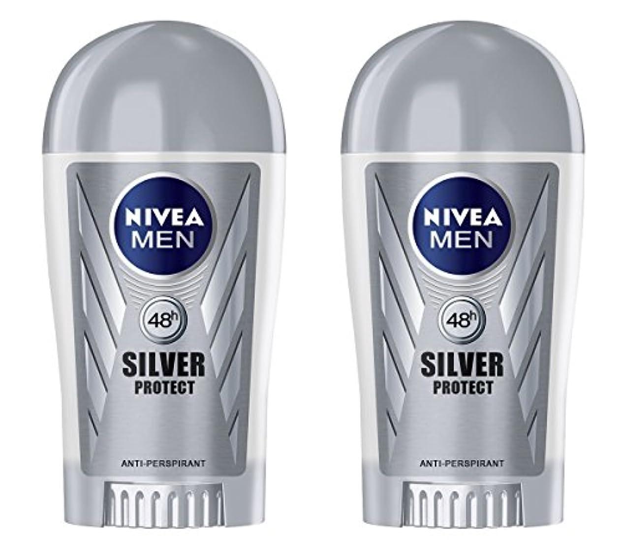 炎上観察金貸し(Pack of 2) Nivea Silver Protect Anti-perspirant Deodorant Stick for Men 2x40ml - (2パック) ニベア銀保護する制汗剤デオドラントスティック...