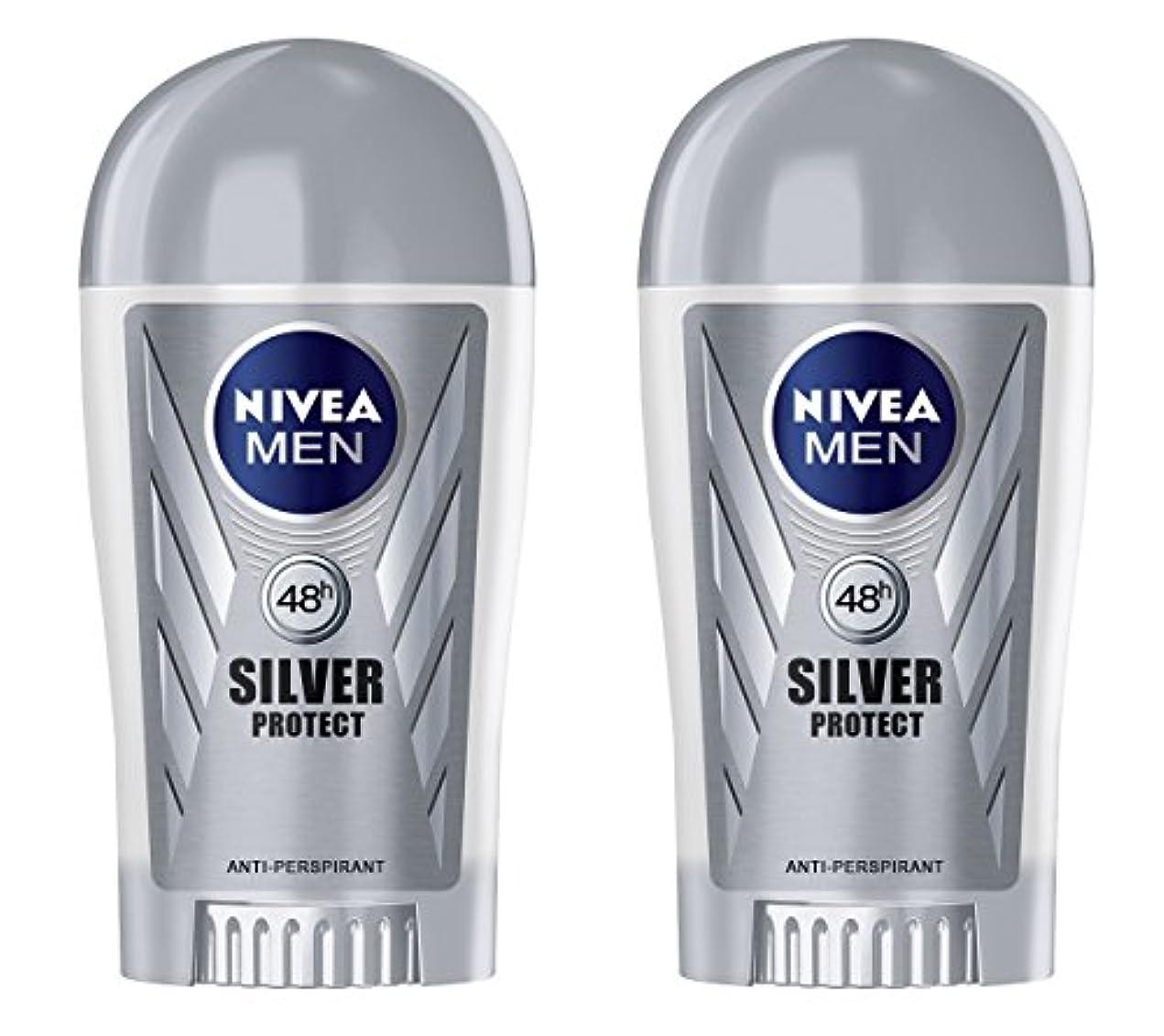 有料おじさん大邸宅(Pack of 2) Nivea Silver Protect Anti-perspirant Deodorant Stick for Men 2x40ml - (2パック) ニベア銀保護する制汗剤デオドラントスティック...