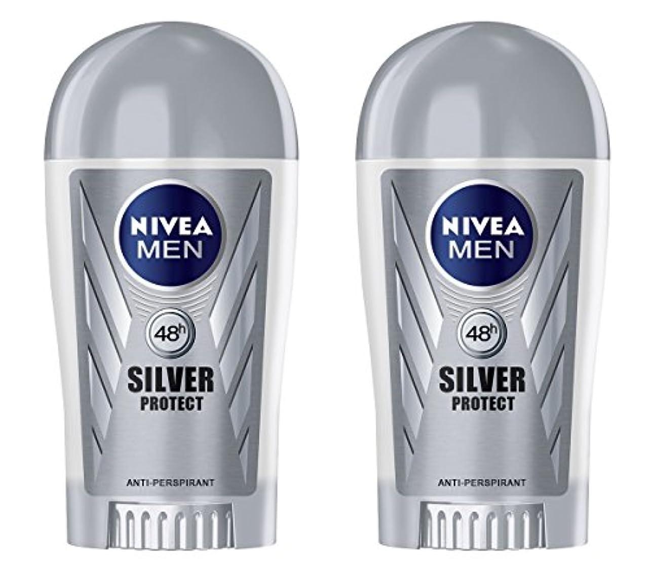 操縦するモックオーク(Pack of 2) Nivea Silver Protect Anti-perspirant Deodorant Stick for Men 2x40ml - (2パック) ニベア銀保護する制汗剤デオドラントスティック男性用2x40ml