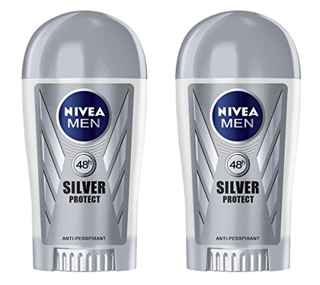 スクリューボックス外出(Pack of 2) Nivea Silver Protect Anti-perspirant Deodorant Stick for Men 2x40ml - (2パック) ニベア銀保護する制汗剤デオドラントスティック...