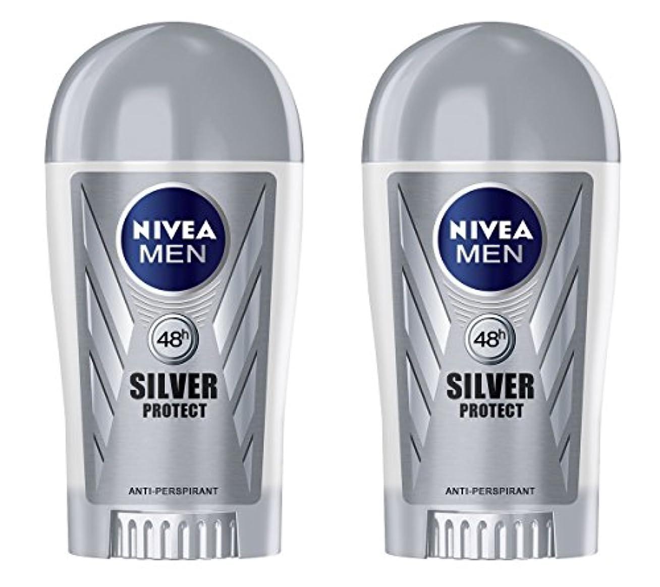 娘高齢者賞(Pack of 2) Nivea Silver Protect Anti-perspirant Deodorant Stick for Men 2x40ml - (2パック) ニベア銀保護する制汗剤デオドラントスティック男性用2x40ml