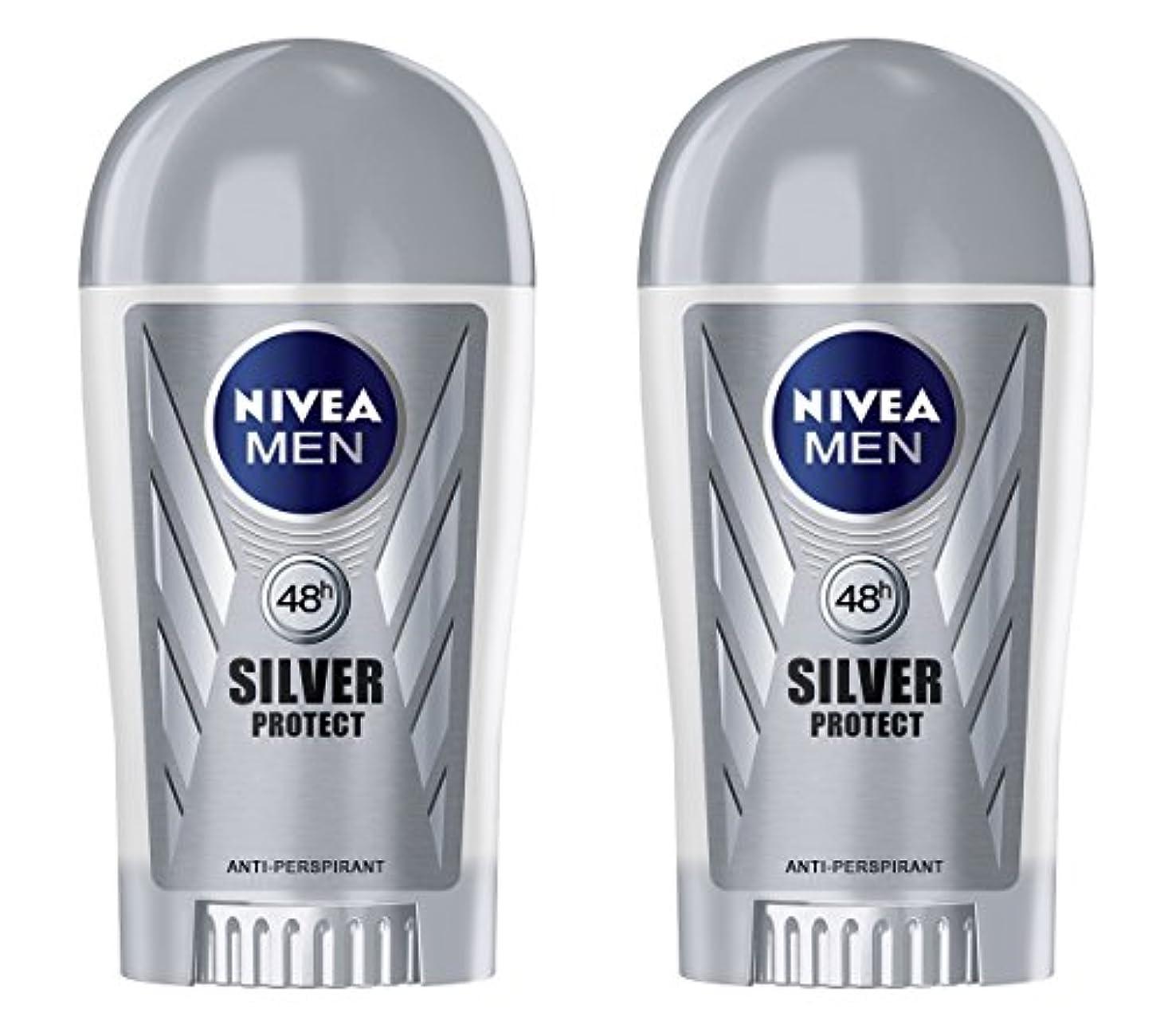 思いやりのあるプラグアリーナ(Pack of 2) Nivea Silver Protect Anti-perspirant Deodorant Stick for Men 2x40ml - (2パック) ニベア銀保護する制汗剤デオドラントスティック男性用2x40ml