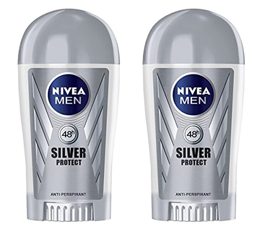 多くの危険がある状況臭い航空機(Pack of 2) Nivea Silver Protect Anti-perspirant Deodorant Stick for Men 2x40ml - (2パック) ニベア銀保護する制汗剤デオドラントスティック...