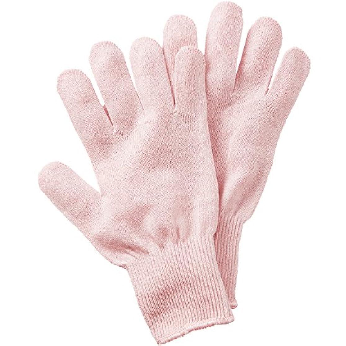 渦外向き切手セルヴァン シルク混おやすみ手袋 ピンク