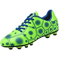 Yong Ding Unisex Soccer Shoes Geometric Pattern Leather Football Shoes for Indoor Outdoor Professional Turf Training
