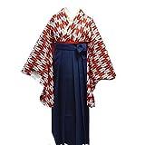 卒業式袴セット 女性レディース二尺袖着物無地袴セット 4サイズ5色/S(87cm) 紺