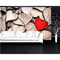 Xbwy クローズアップハート木の写真3 Dの壁紙、リビングルームテレビの背景ソファの壁子供部屋レストランバー3 D壁画-250X175Cm