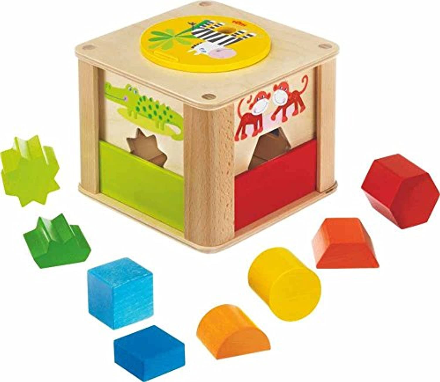 Haba Zookeeper木製Shape Sorting Box with a Twist – Explore全体と半分Shapes – 12ヶ月+