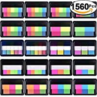 SIQUK 1560 Pieces Pop-up Index Tabs Page Markers Sticky Neon Page Flags Tabs Polka Dots and Stripes Index Flag Tabs for Marking, 20 Sets