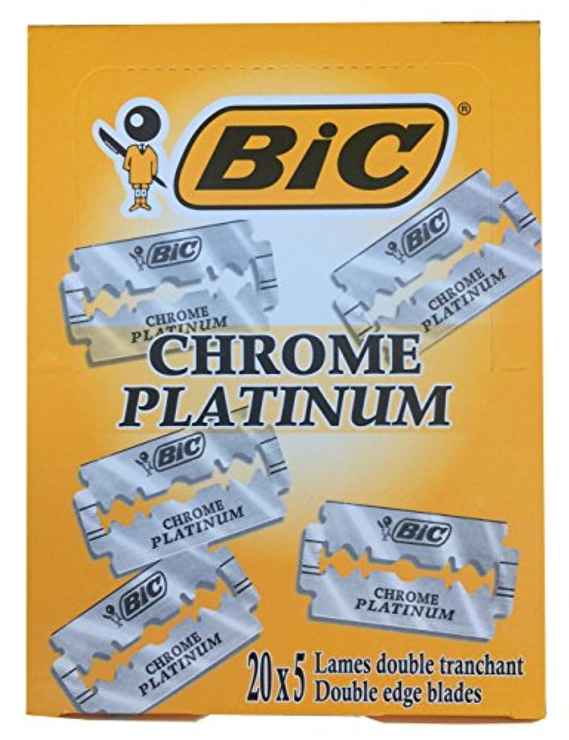 ブロックするイースターあるBIC Chrome Platinum 両刃替刃 100枚入り(5枚入り20 個セット)【並行輸入品】