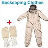 Full Bee Suit Beekeeping Suit Heavy Duty with Leather Ventilated Keeping Gloves (Beekeeping Clothes XL)