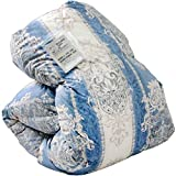 タンスのゲン 羽毛布団 日本製 ホワイトダックダウン90% 7年長期保証 350dp(かさ高145mm)以上 消臭抗菌 国内パワーアップ加工 CILシルバーラベル シングル キカ柄ブルー 10119001 15