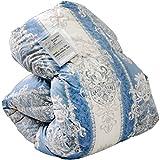 羽毛布団 シングル 日本製 150×210 7年長期保証 350dp(かさ高145mm)以上 消臭抗菌 国内パワーアップ加工 掛け布団 CILシルバーラベル キカ柄ブルー 10119001 15
