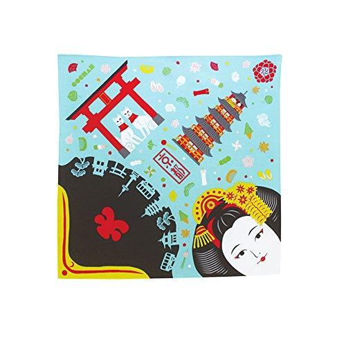 「福コチャエ チーフ・小風呂敷 京都 ライトブルー 48cm 【帯付袋入り】」風呂敷(ふろしき)お弁当包...