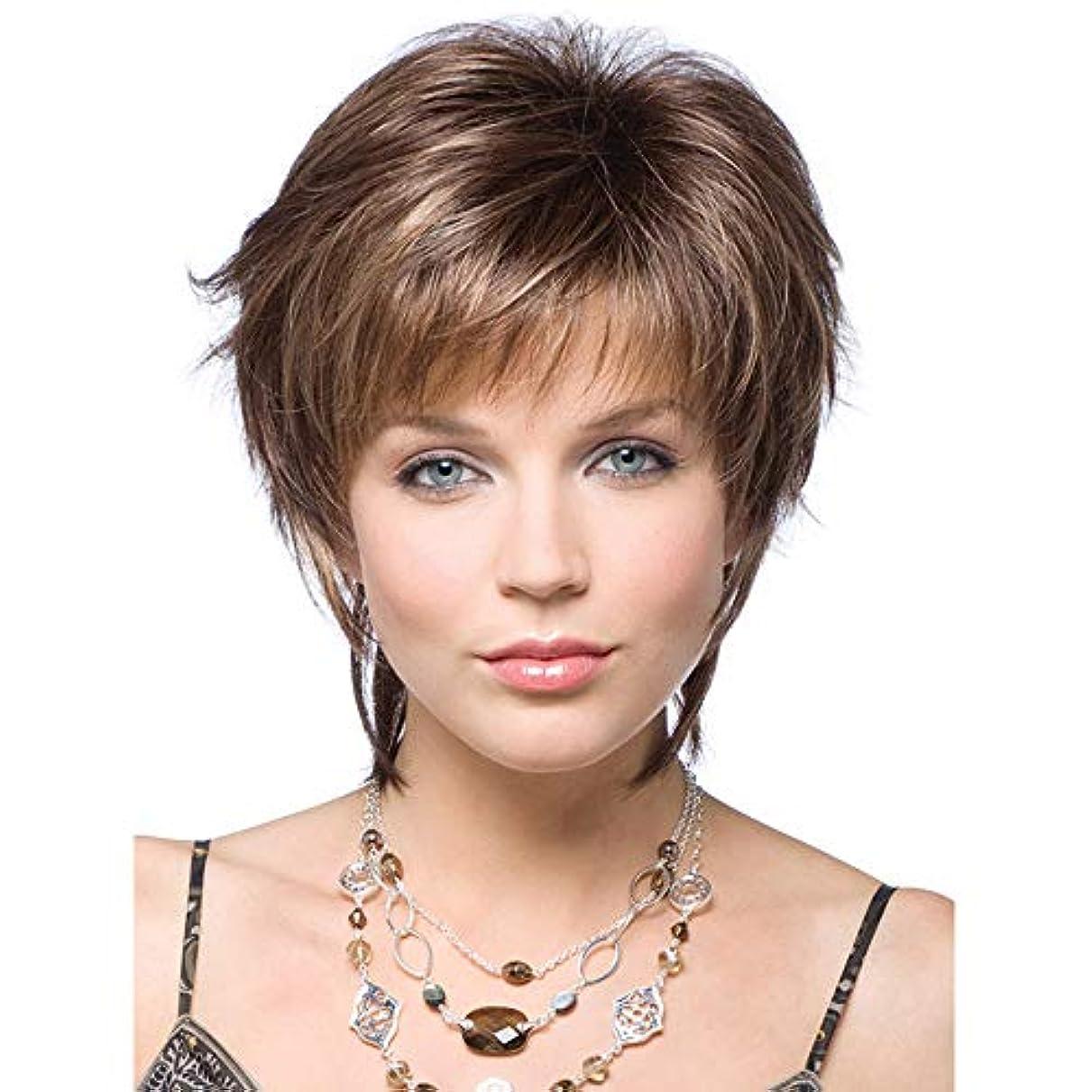 過度にネックレット兵士女性用かつら180%密度合成耐熱ショーツブラジル人毛ウィッグブラウン25cm
