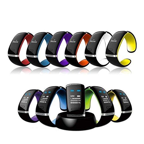 『Bluetoothブレスレット スマートウォッチ OLED表示 歩数計 ハンズフリー通話 着信知らせ 電話番号表示 音楽プレーヤー 置き忘れ防止 Bluetooth搭載 マルチ腕時計 (オレンジ)』のトップ画像