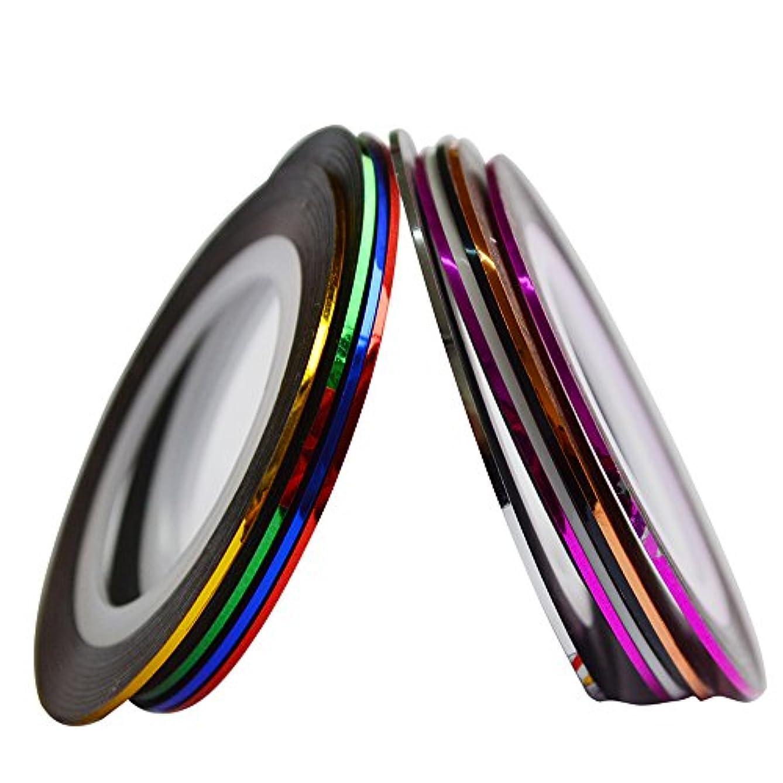 満足解読する分布SUKTI&XIAO ネイルステッカー 10色1ミリメートルロールネイルアートストライプグリッターストライプテープラインステッカーdiyネイルデコレーションラインアクセサリーのヒント