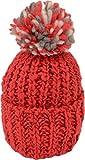 [シュノン] ShunoN 日本製 ミックス ボンボン ニット帽 ウール100% 14色 キッズ サイズ 11.レッドxホワイトK