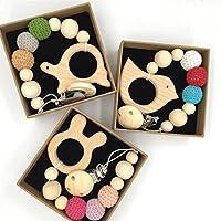 Kissteether 3個赤ちゃんのおしゃぶりを木製の動物のテーバー環境にやさしい歯がかぎ針編みビーズを噛む乳首クリップ型のラトルクリスマスギフト (木製の色 10)