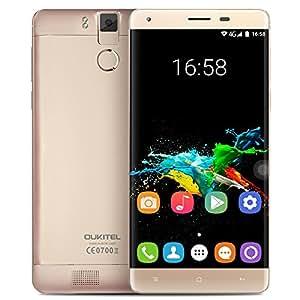 """OUKITEL K6000 Pro スマートフォン sim フリー 4G FDD-LTE MTK6753 64-bit オクタコア 5.5"""" 2.5D FHD 1920 * 1080 Android 6.0 3GB RAM+32GB ROM 合金フレーム 8MP+16MP 0.3s 指紋認識 電力モードなど機能 (ゴールデン)"""