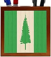 Rikki Knight Norfolk Island Flag on Distressed Wood Design 5-Inch Wooden Tile Pen Holder (RK-PH8762) [並行輸入品]