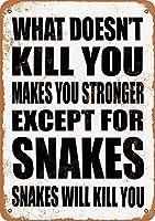 Shimaier 壁の装飾 メタルサイン Snakes Will Kill You. ウォールアート バー カフェ 縦20×横30cm ヴィンテージ風 メタルプレート ブリキ 看板