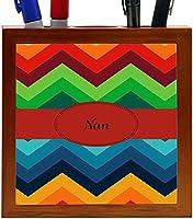 Rikki Knight Nan Name on Fall Colors Chunky Chevron Design 5-Inch Tile Wooden Tile Pen Holder (RK-PH45427) [並行輸入品]
