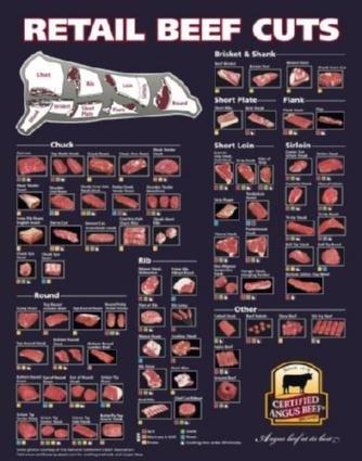 肉のビーフカットチャートポスター24x36インチ [並行輸入品]