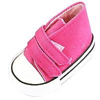 Perfeclan 全9色 人形の靴 18インチ人形 スニーカーおもちゃ キャンバス ドールシューズ ドレスアップ  - ローズレッド
