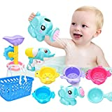 9 PCs Fun Baby Bath Toys for Toddlers 1 2 3 4 5 Years Boys and Girls Storage, Bathtub Swimming Pool Fishing Toys  Kids with Basket