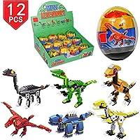 PROLOSO 12 Psc Building Blocks Bricks Dinosaur Toys Dino Toy Easter Eggs Stocking Stuffers Kids Prize [並行輸入品]