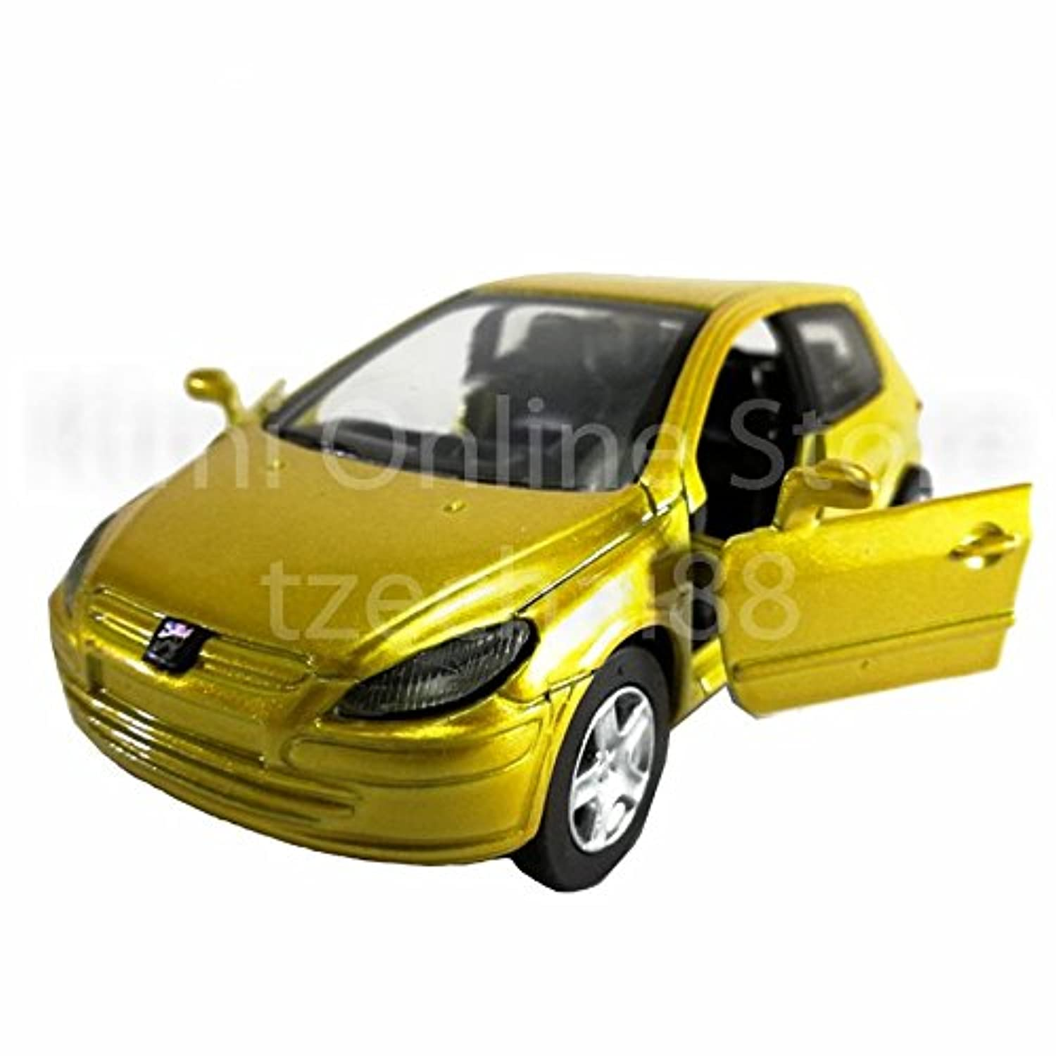 Newray Die-cast Peugeot 307 Car 1:32 Yellow Color Model Collection Gift New Toys