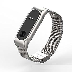 Xiaomi Mi Band 2 bands Pinhen Mesh Wrist Blet Strap Wristband Bracelet Accessories With Metal Frame For Xiaomi Mi Band 2 Smart Watch Miband (Mesh Silver) [並行輸入品]