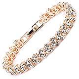 MAX World ブレスレット レディースファッション ピンクゴールド CZダイヤモンド キュービックジルコニア (ピンクゴールド)