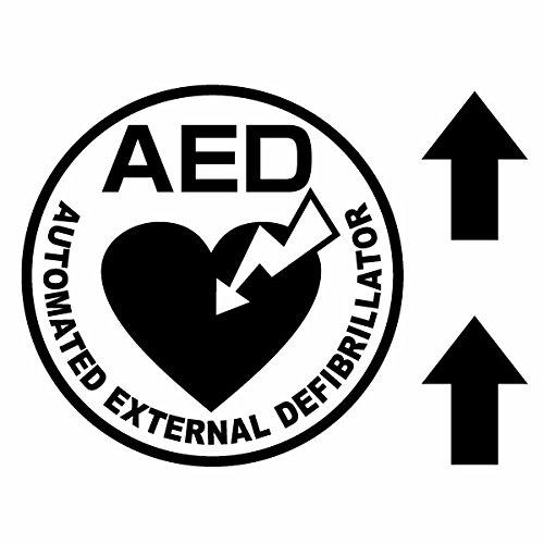 【AED設置案内カッティングステッカー ver.09 大判Lサイズ 2枚組 幅約27cm×高約27cm】※矢印...