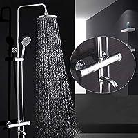 シャワーシステム - ウォーターアウト付きの全銅温度調節式バスセット、壁掛け式レインフォールシャワーヘッド、最適なリラクゼーションとスパ用の調節可能なシャワーブラケット