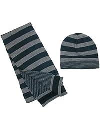 CTMジャージーニットストライプリバーシブル帽子とスカーフセット