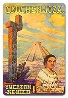 22cm x 30cmヴィンテージハワイアンティンサイン - チチェン?イツァ - ユカタン、メキシコ - エルカスティーヨマヤのピラミッド - ビンテージな世界旅行のポスター によって作成された フローレスESPの c.1950s