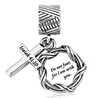 Charmed Craft Religious Charms Cross Charms Prayer God Charms for Charm Bracelets (do not fear for i am with you) [並行輸入品]