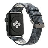 Apple Watch バンド 44mm レザー アップルウォッチ ダミエ柄 おしゃれ series 5/4/3/2/1 全シリーズ対応 (42mm, ブルー)