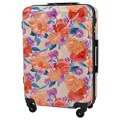 キャリーケース リエンダ オリエンタルプリント スーツケース 軽量 TSAロック rienda ファスナータイプ 4輪 53L 3日 5日用 Lサイズ r03509401【1年保証付】 (ピンク)