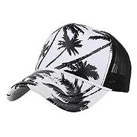 男女兼用 キャップ Florrita ココナッツの木プリント ベースボールキャップ スナップバック 野球帽 ヒップホップ フラットハット 通気性 UVカット ネットキャップ