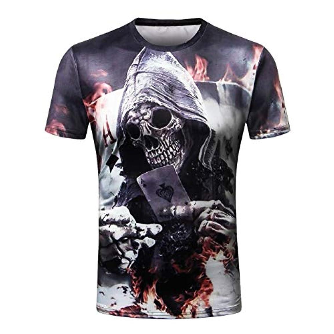 ジョグ一貫性のないしばしばDeeploveUU メンズTシャツ3Dスカルヘッドプリントメンズ半袖Tシャツ快適なカジュアルラウンドカラー男性シャツトップス日常着