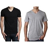 Hanes Men's 3-Pack V-Neck T-Shirt (Small, Black/Gray)