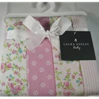 Set of 4 Laura Ashley Baby Swaddling and Receiving Blankets 100% Cotton Flannel by Laura Ashley Baby