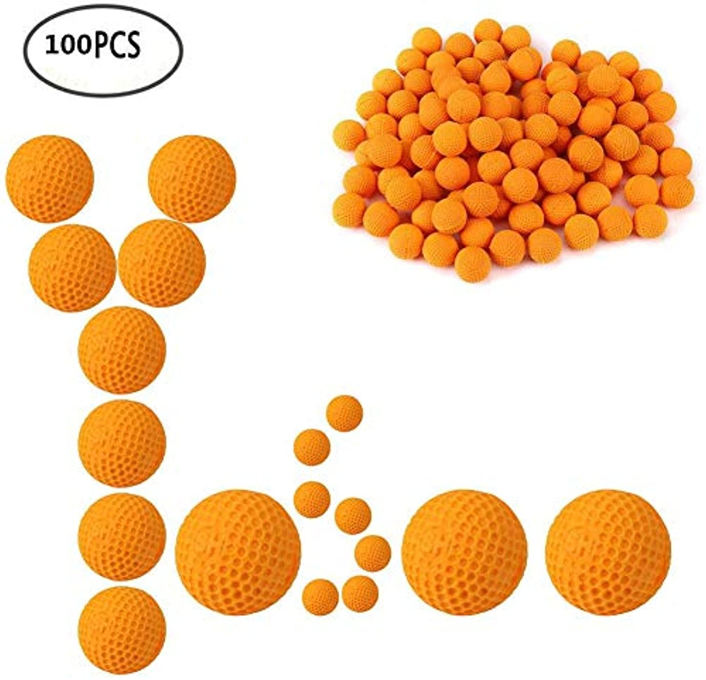 言い聞かせる壮大な覚醒100pcs ガン弾丸ボール ナーフライバル用 替え玉 ボール 弾丸 おもちゃガン弾丸ボールり 交換安全 子供おもちゃガン用 (オレンジ)