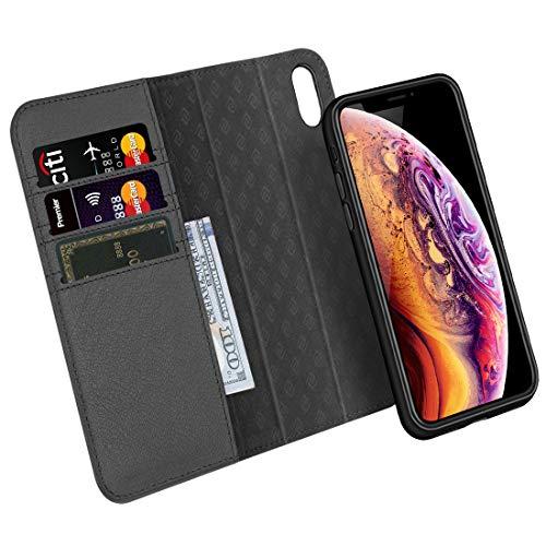 035234171b ZOVER iPhone XS ケース iPhone X ケース 手帳型 取り外しな財布型 本革ケース ワイヤレス充電対応 車載ホルダー対応 両面 マグネット式磁気吸着 アイフォンXS ケース ...