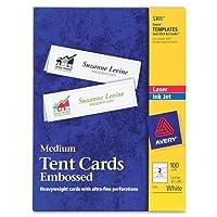 Avery 5305 ミディアム エンボス加工 テントカード ホワイト 2-1/2 x 8-1/2 100枚/ボックス